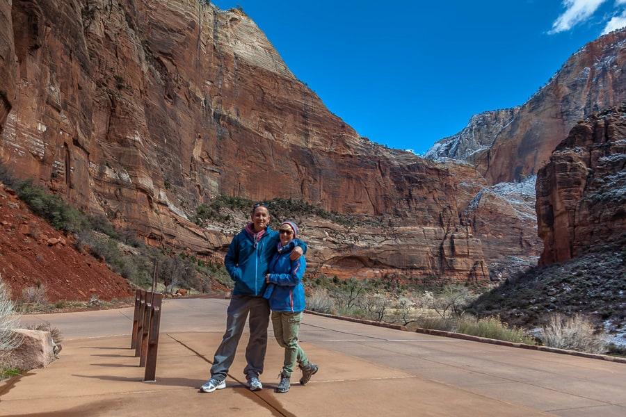 Der Autor mit Frau im zion Nationalpark