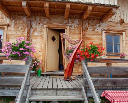 Harfe vor dem Eingang einer Almhütte