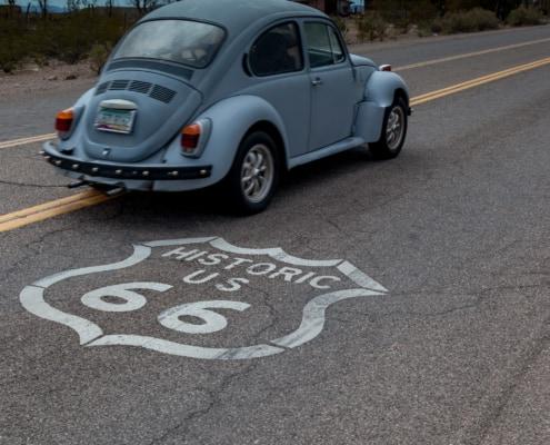 Alter VW Käfer auf der Route 66